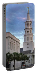 Steeple At Dusk Portable Battery Charger