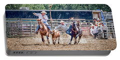 Portable Battery Charger featuring the photograph Steer Wrestling With An Audience by Darcy Michaelchuk