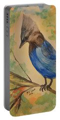 Portable Battery Charger featuring the painting Stellar Jay - Autumn #3 by Maria Urso