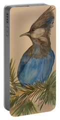 Portable Battery Charger featuring the painting Stellar Jay - Summer #2 by Maria Urso