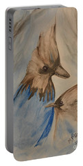 Portable Battery Charger featuring the painting Stellar Jay - Winter #4 by Maria Urso