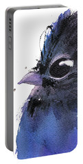 Portable Battery Charger featuring the painting Steller Jay by Dawn Derman