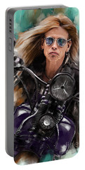 Steven Tyler On A Bike Portable Battery Charger