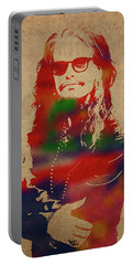 Steven Tyler Watercolor Portrait Aerosmith Portable Battery Charger