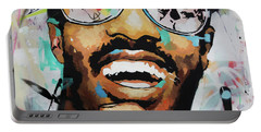 Portable Battery Charger featuring the painting Stevie Wonder Portrait by Richard Day