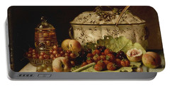 Still Life  Fruit And Dishes  Late 19th Century Oil On Panel Gottfried Schultz  German  1842  1919 Portable Battery Charger