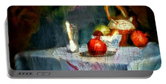 Still Life Oil Painting Table With Pomegranate Ceramic Kettle Glass Knife And Bowl Of Fruit Pears Linen Sketch Painting Life Drawing Portable Battery Charger