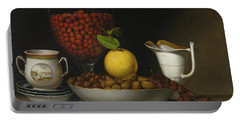 Still Life   Strawberries, Nuts Portable Battery Charger by Raphaelle Peale