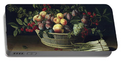 Still Life With A Basket Of Fruit And A Bunch Of Asparagus Portable Battery Charger