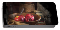 Portable Battery Charger featuring the photograph Still Life With Apples, Antique Bowl, Barrel And Shakers. by Michele A Loftus