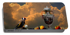 Portable Battery Charger featuring the digital art Still Life With Bird by Alexa Szlavics