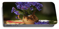 Still Life With Blue Flowers Portable Battery Charger