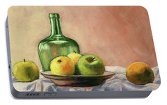 Portable Battery Charger featuring the painting Still Life With Bottle by Janet King