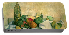 Still Life With Bottle Of Liqueur Portable Battery Charger by Paul Cezanne