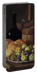 Still Life With Figs And Bread Portable Battery Charger