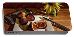 Still Life With Flower And Figs Portable Battery Charger