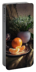 Portable Battery Charger featuring the photograph Still Life With Fresh Flowers And Tangerines by Jaroslaw Blaminsky