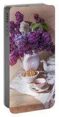 Portable Battery Charger featuring the photograph Still Life With Fresh Lilac And China Pots by Jaroslaw Blaminsky