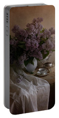 Still Life With Fresh Lilac And Dishes Portable Battery Charger