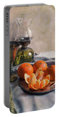 Portable Battery Charger featuring the photograph Still Life With Fresh Tangerines And Oil Lamp by Jaroslaw Blaminsky