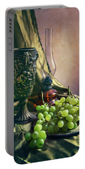 Portable Battery Charger featuring the photograph Still Life With Green Grapes by Jaroslaw Blaminsky