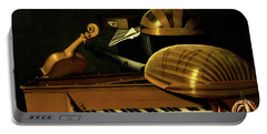 Still Life With Musical Instruments And Books Portable Battery Charger