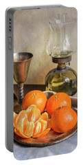 Portable Battery Charger featuring the photograph Still Life With Oil Lamp And Fresh Tangerines by Jaroslaw Blaminsky