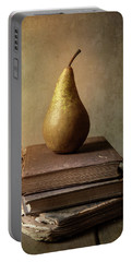 Portable Battery Charger featuring the photograph Still Life With Old Books And Fresh Pear by Jaroslaw Blaminsky