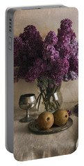 Portable Battery Charger featuring the photograph Still Life With Pears And Fresh Lilac by Jaroslaw Blaminsky