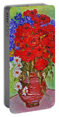 Still Life With Poppies And Blue Flowers Portable Battery Charger