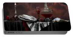 Portable Battery Charger featuring the digital art Still Life With Red Wine by Alexa Szlavics