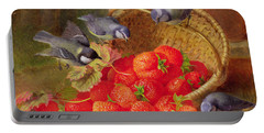 Still Life With Strawberries And Bluetits Portable Battery Charger