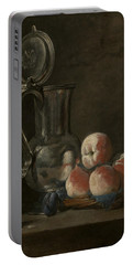 Still Life With Tin Pitcher And Peaches  Portable Battery Charger