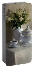 Still Life With White Tea Set And Bouquet Of White Flowers Portable Battery Charger