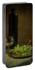 Still Life With Wine And Green Grapes Portable Battery Charger