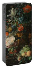Portable Battery Charger featuring the painting  Still Life, Flowers by Jan van Huysum