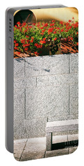 Portable Battery Charger featuring the photograph Stone Bench With Flowers by Silvia Ganora