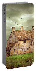 Stone Cottage And Stormy Sky Portable Battery Charger by Jill Battaglia