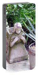 Portable Battery Charger featuring the photograph Stone Girl With Basket And Plants by Francesca Mackenney