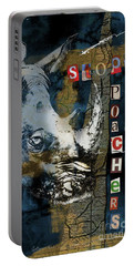 Stop Rhino Poachers Wildlife Conservation Art Portable Battery Charger
