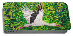 Stork In Flight Portable Battery Charger by Valerie Ornstein