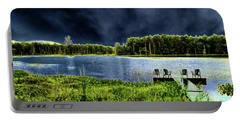 Portable Battery Charger featuring the photograph Storm Approaching The Pond by David Patterson