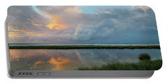 Storm Cloud Reflections At Sunset Portable Battery Charger