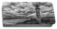 Storm Clouds Over Old Scituate Lighthouse In Black And White Portable Battery Charger