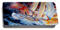Portable Battery Charger featuring the painting Storm Meister by Hanne Lore Koehler