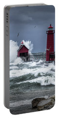 Storm On Lake Michigan By The Grand Haven Lighthouse With Flying Gulls Portable Battery Charger