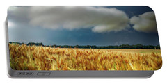 Storm Over Ripening Wheat Portable Battery Charger