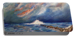 Storm Over The Ocean Portable Battery Charger by Dorothy Maier
