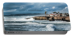 Storm Wave At Sunset Cliffs Portable Battery Charger