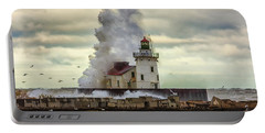Storm Waves At The Cleveland Lighthouse Portable Battery Charger